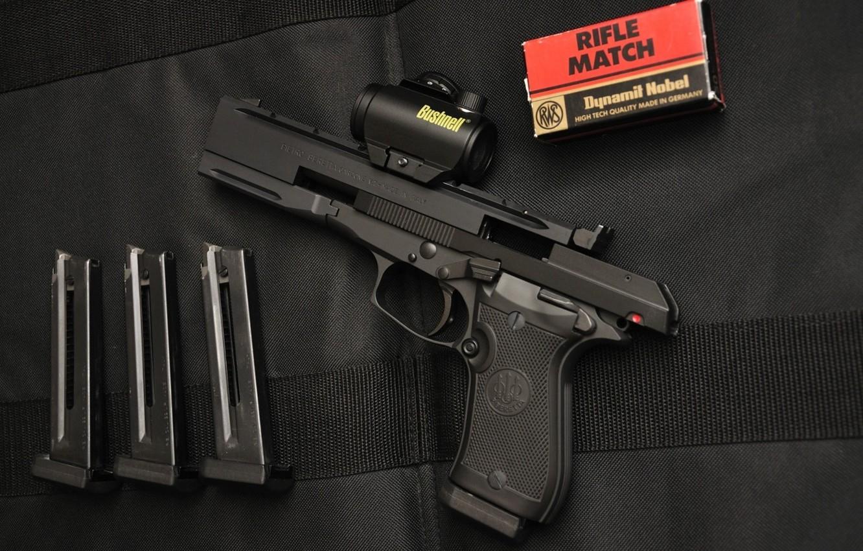 Photo wallpaper gun, pistol, weapon, Beretta, Beretta 87, ammunition, chargers, made in Italy, spare chargers, Beretta 87 …
