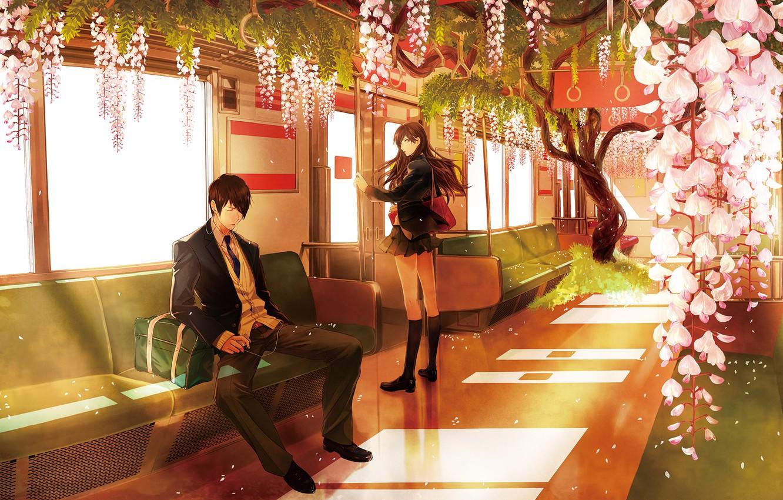 Photo wallpaper girl, trees, flowers, metro, petals, headphones, pair, Anime, guy, bag, school uniform