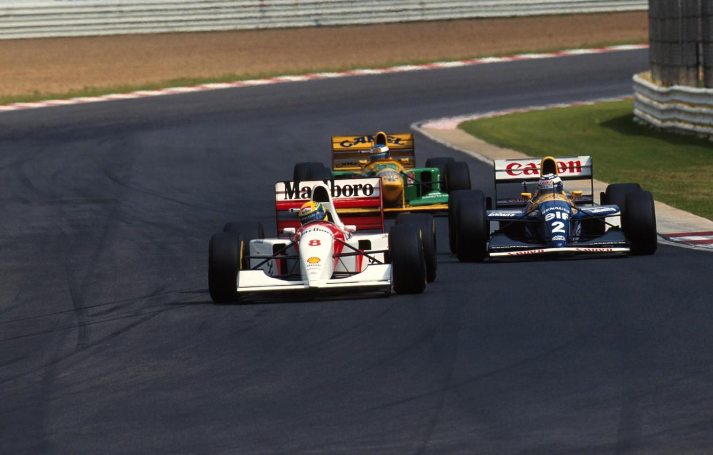 Photo wallpaper race, overtaking, Michael Schumacher, Alain Prost, Ayrton Senna, F-1, balide, Grand Prix South Africa