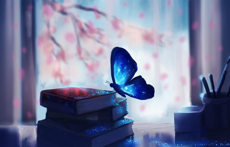 Photo wallpaper tree, branch, butterfly, books, Sakura, art, chibionpu
