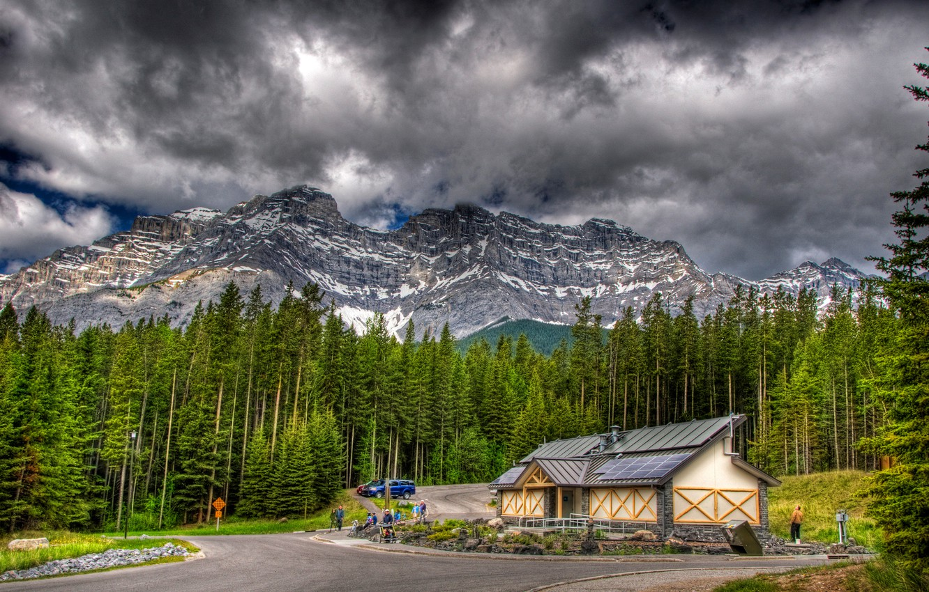 Photo wallpaper road, forest, the sky, clouds, trees, mountains, house, people, stay, Canada, banif