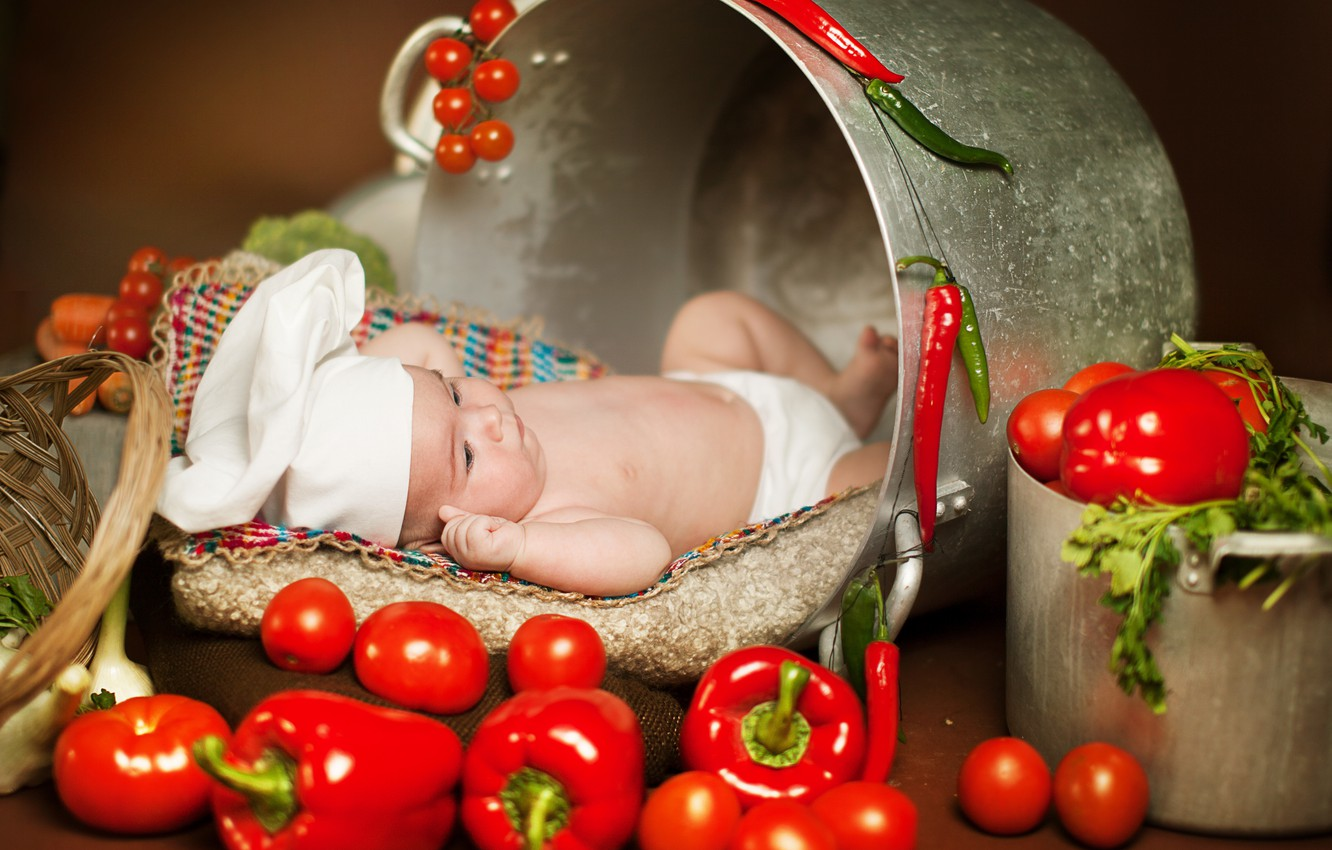Photo wallpaper greens, children, food, pan, pepper, vegetables, tomatoes, child, Anna Levankova, scullion