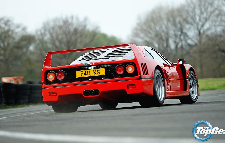 Photo wallpaper Top Gear, Ferrari, Red, F40, Supercar, Wheels, Italian, Spoiler, Slippage, Skid