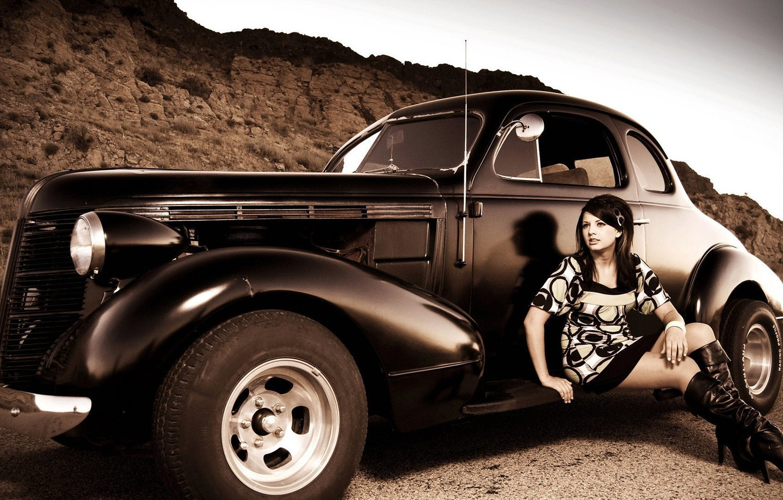 Photo wallpaper car, vintage, hot girl, car and girl, vingage car and girl