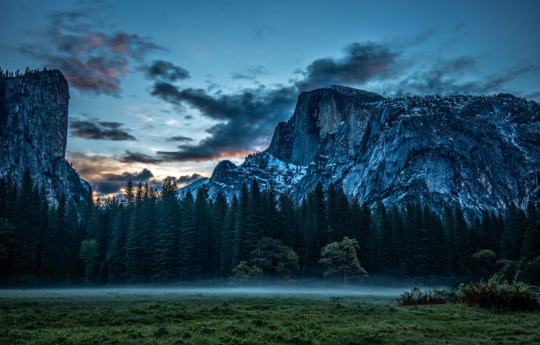 Photo wallpaper clouds, nature, fog, rocks, meadow, Yosemite, Yosemite, California, National park