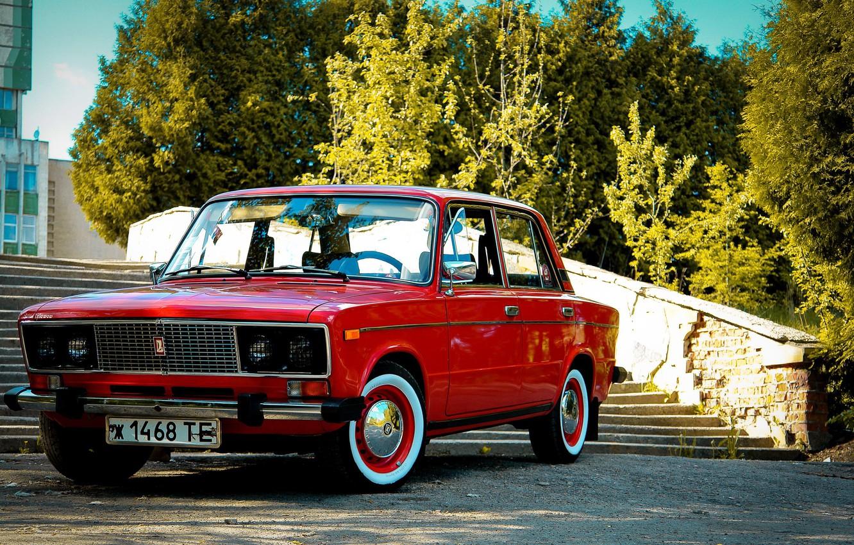 Photo wallpaper retro, background, Wallpaper, red, classic, legend, Lada, Lada, vaz, VAZ, 2106, Schoch, Lada