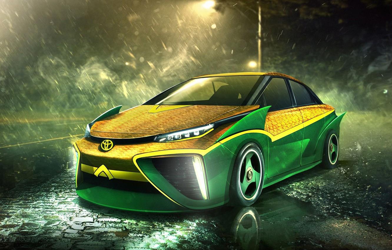 Photo wallpaper auto, Superheroes, auto, superhero, Marvel, Toyota, Marvel, Aquaman, Aquaman, Toyota Mirai