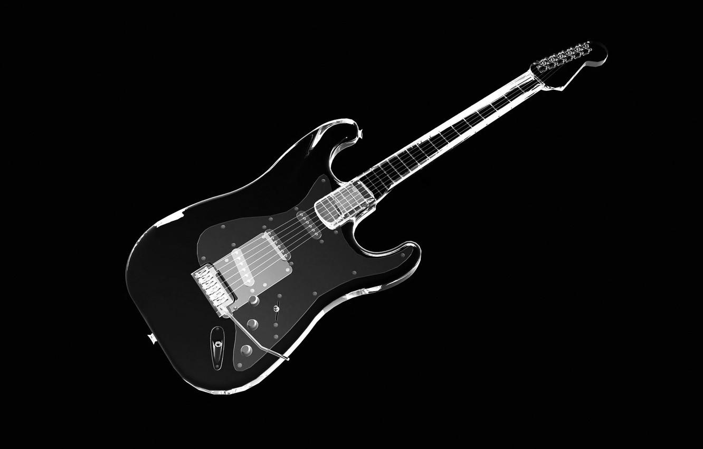 Photo wallpaper strings, Guitar, x-ray
