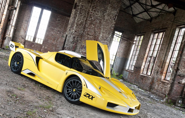 Photo wallpaper tuning, the building, the door, Ferrari, Ferrari, Enzo, yellow, Enzo, ZXX, Edo Competition, Edo competes