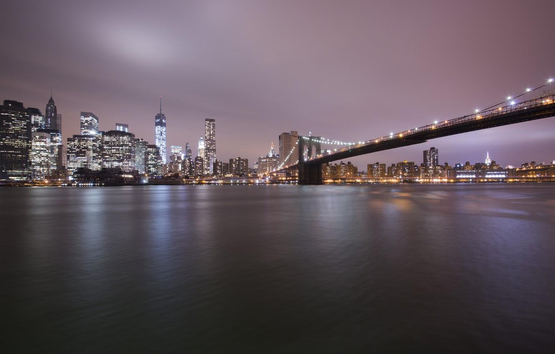 Photo wallpaper light, sea, bridge, water, buildings
