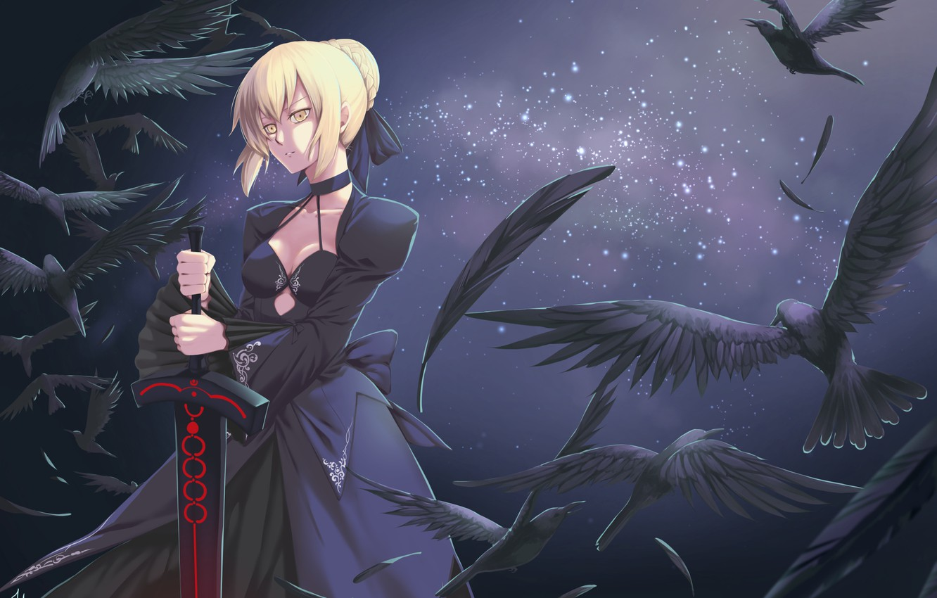 Photo wallpaper girl, sword, art, crows, fate stay night, saber age, Artoria, tagme artist, the saber