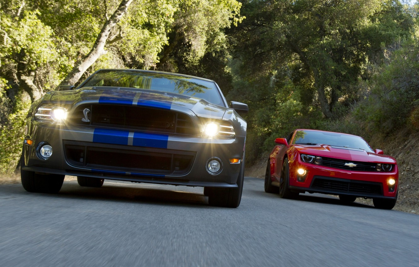 Photo wallpaper background, Mustang, Ford, Shelby, GT500, Chevrolet, Camaro, the front, and, Muscle car, Muscle car, ZL1