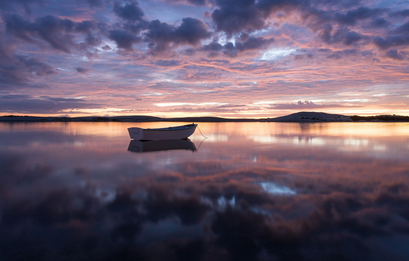 Photo wallpaper the sky, clouds, sunset, reflection, shore, boat, the evening, New Zealand, Bay, harbour