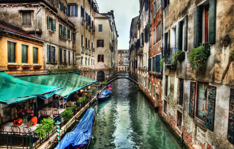 Photo wallpaper street, building, home, Italy, Venice, channel, cafe, the bridge, Italy, bridge, water, street, Venice, Italia, …