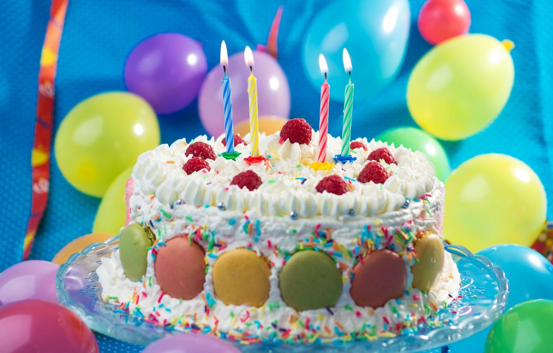 Photo wallpaper Candles, Balls, Sweets, Food, Cake, Holidays