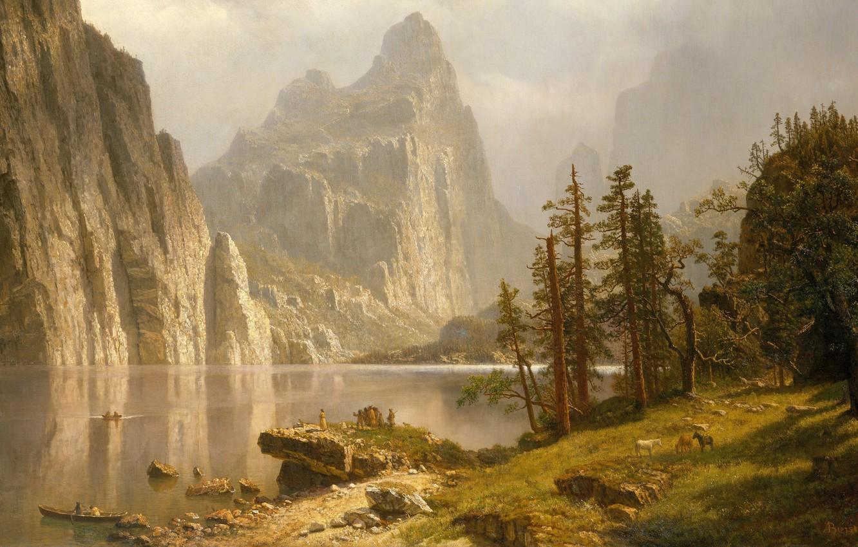 Photo wallpaper picture, painting, Yosemite Valley, painting, Albert Bierstadt, Merced River