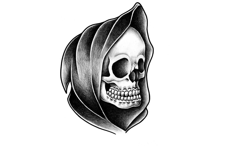 Photo wallpaper skull, head, skeleton, hood