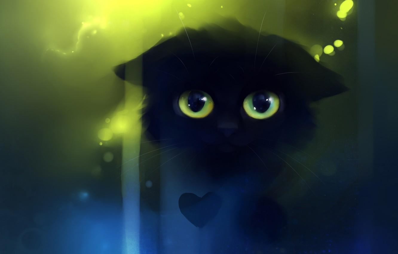Photo wallpaper cat, look, kitty, heart, figure, artist, heart, apofiss, ismile