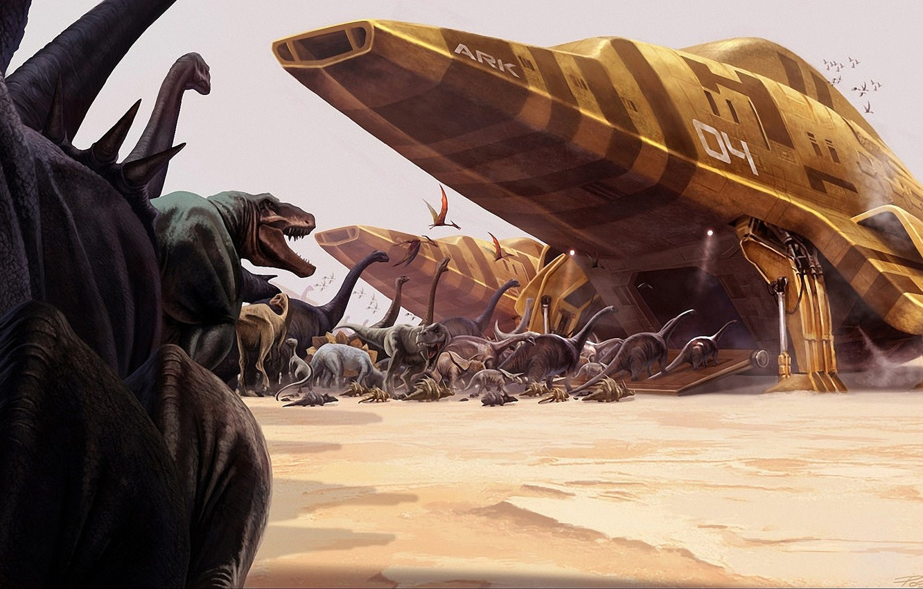 Photo wallpaper ships, the ark, Dinosaurs, relocation
