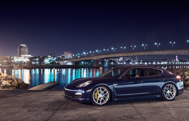 Photo wallpaper night, blue, bridge, the city, lights, porsche, Porsche, blue, Panamera, panamera s