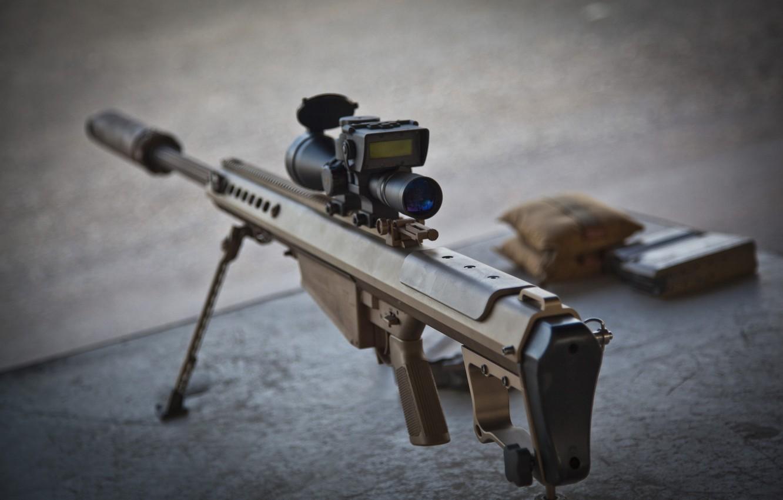 Photo wallpaper weapons, rifle, sniper, self-loading, heavy, Barrett M82