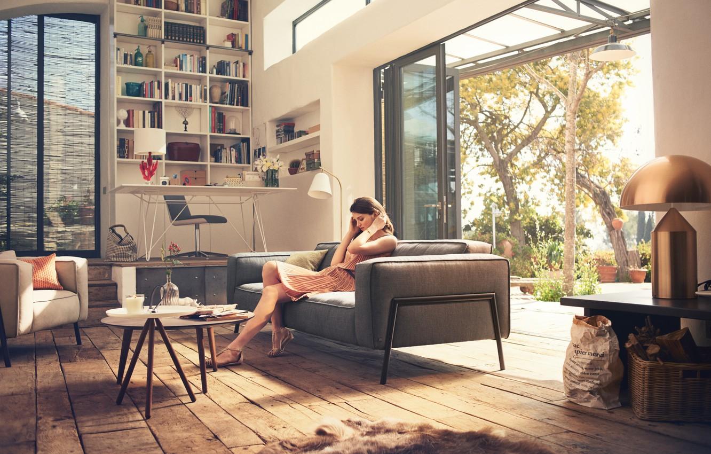 Photo wallpaper girl, design, house, furniture, interior