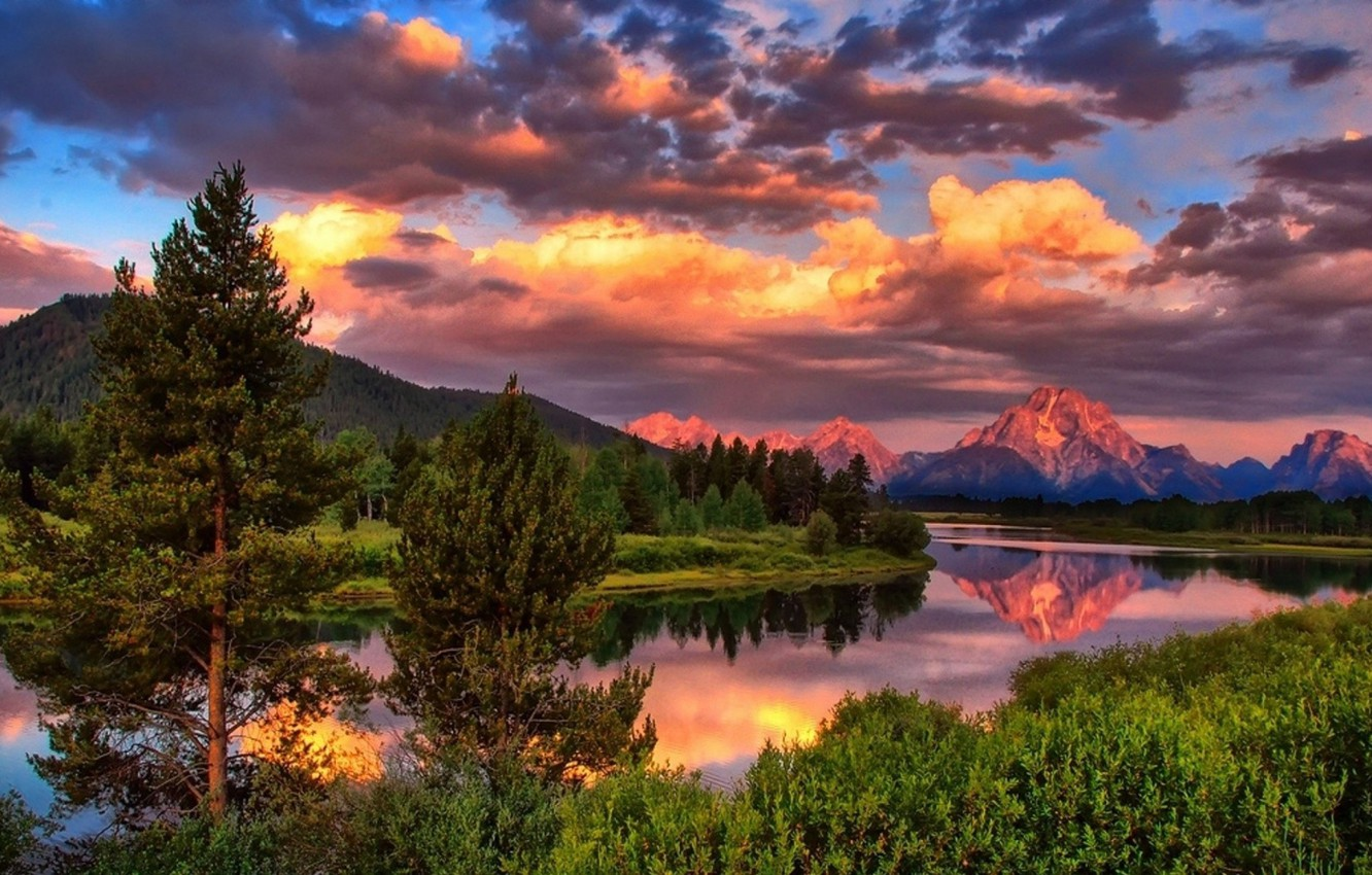 Photo wallpaper forest, summer, the sky, clouds, trees, mountains, nature, river, photo