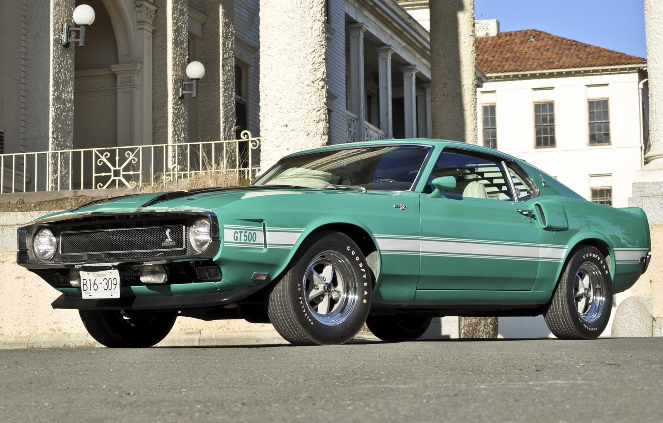 Photo wallpaper house, Shelby, GT500, mustang, Mustang, ford, muscle car, Ford, classic, turquoise, Shelby, 1970, the front, …