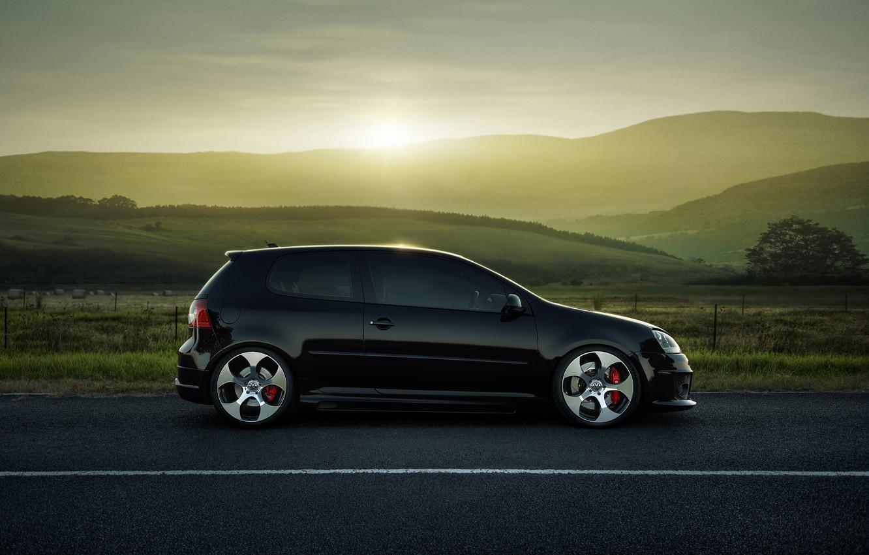 Photo wallpaper road, field, Volkswagen, drives, Golf, GTI, side, MKV