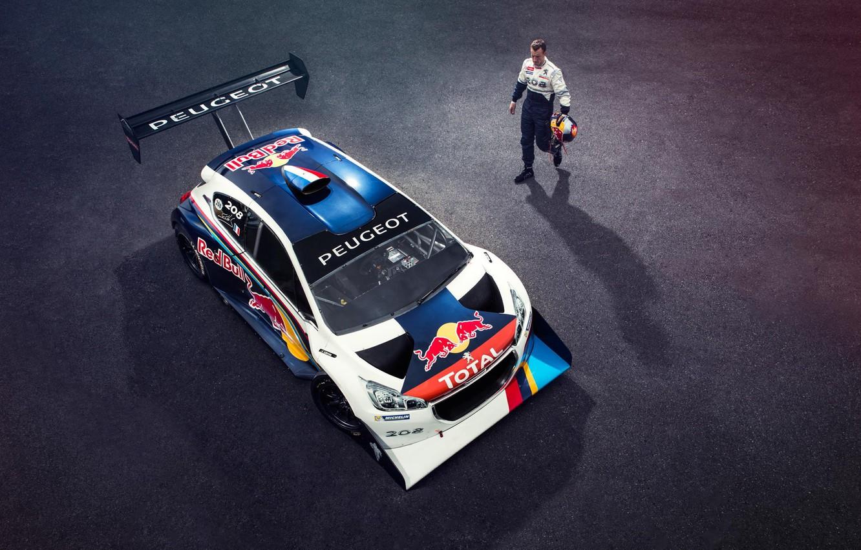 Photo wallpaper helmet, athlete, Top Gear, Peugeot, Red Bull, racer, Total, Sport 208 T16 Pikes Peak