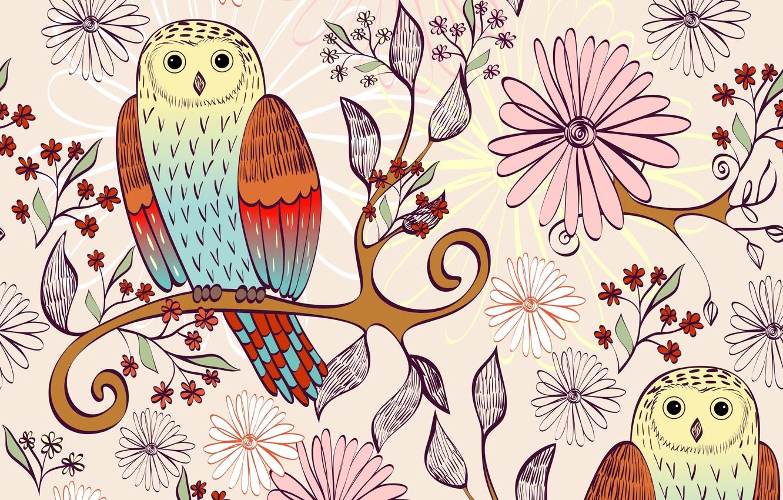 Photo wallpaper flowers, birds, branch, texture, owls, leaves