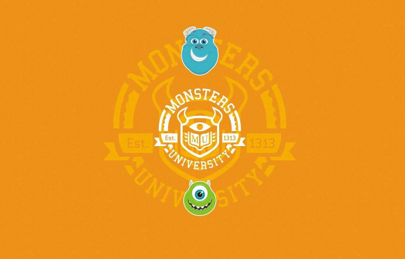 Photo wallpaper blue, green, the inscription, round, minimalism, orange background, faces, Monsters University, Inc., Monsters Inc., Monsters …
