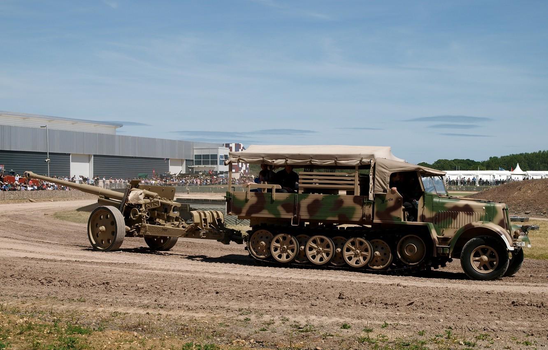 Photo wallpaper camouflage, coloring, tractor, German, half-track, Sd Kfz 7, German anti-tank gun PaK 43/41, 8 ton