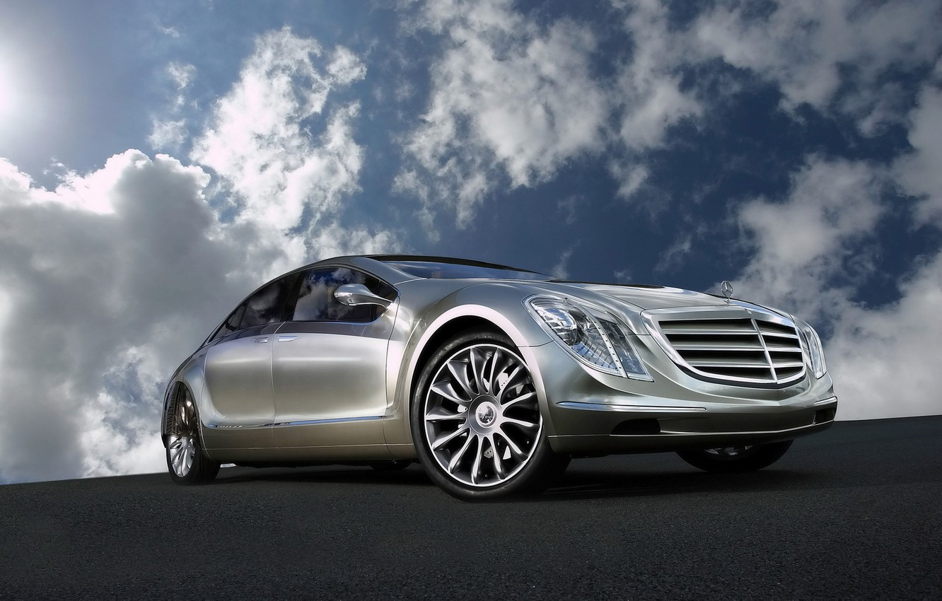 Photo wallpaper Concept, the sky, clouds, reflection, Mercedes-Benz, F700