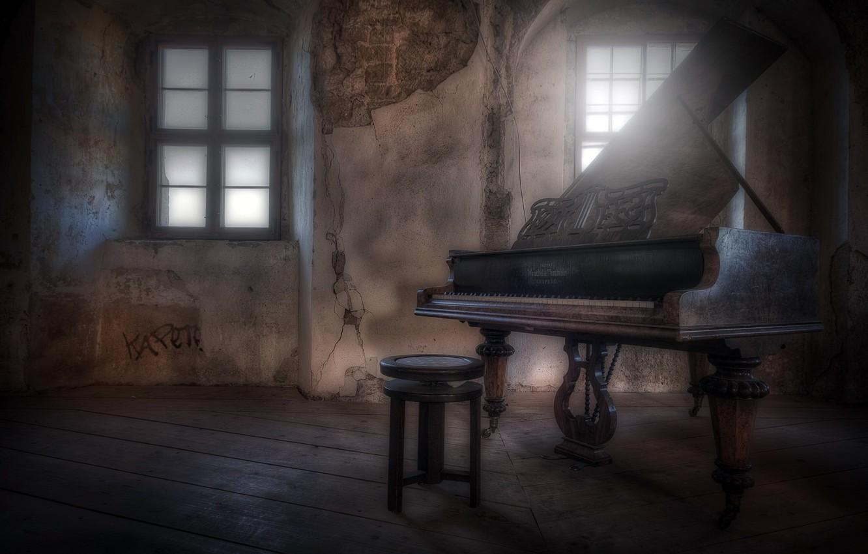 Photo wallpaper window, chair, piano