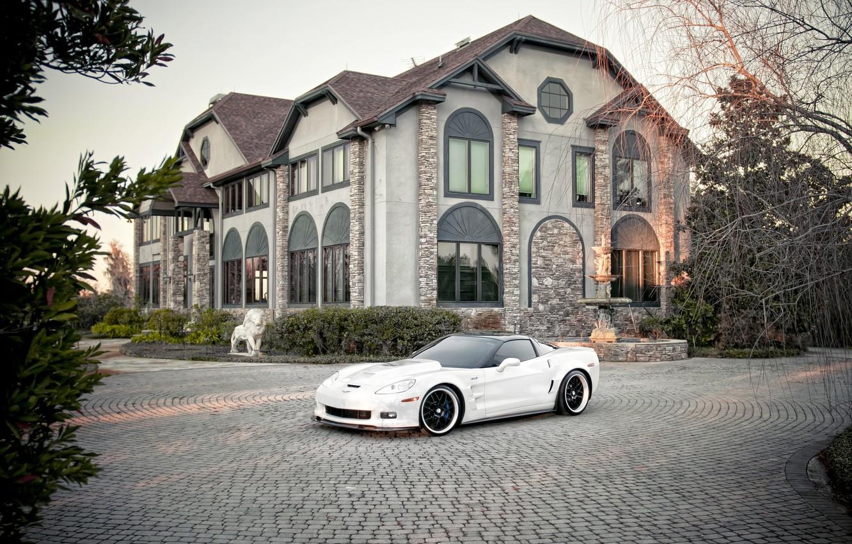 Photo wallpaper Chevrolet, City, Carbon, cars, auto, White, Photo, wallpapers auto, Photography, Corvett, Chevrolet Corvett