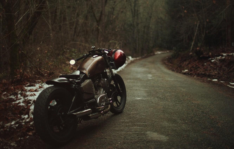 Photo wallpaper asphalt, motorcycle, classic motorcycle