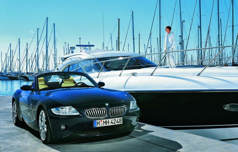 Photo wallpaper yacht, BMW, pier
