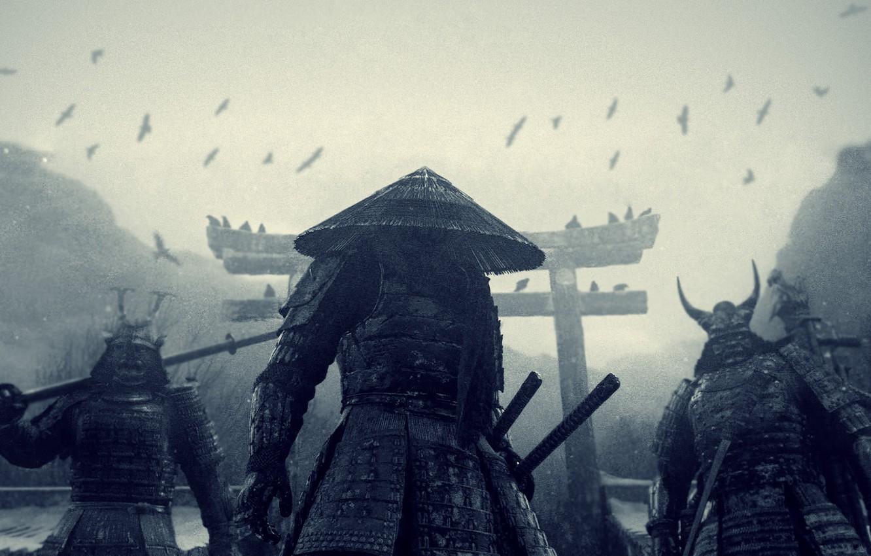 Photo wallpaper snow, Japan, crows, katana, Sucker punch, samurai