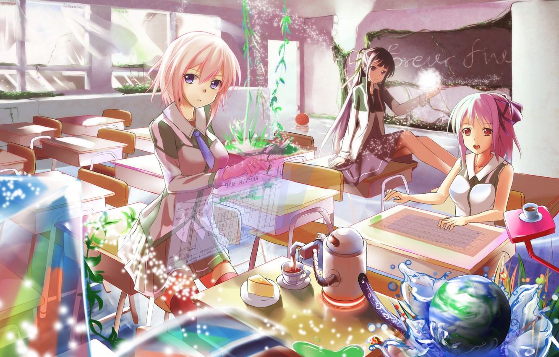 Photo wallpaper water, girls, interface, the ball, art, school, desks, kyaro54, kyaro
