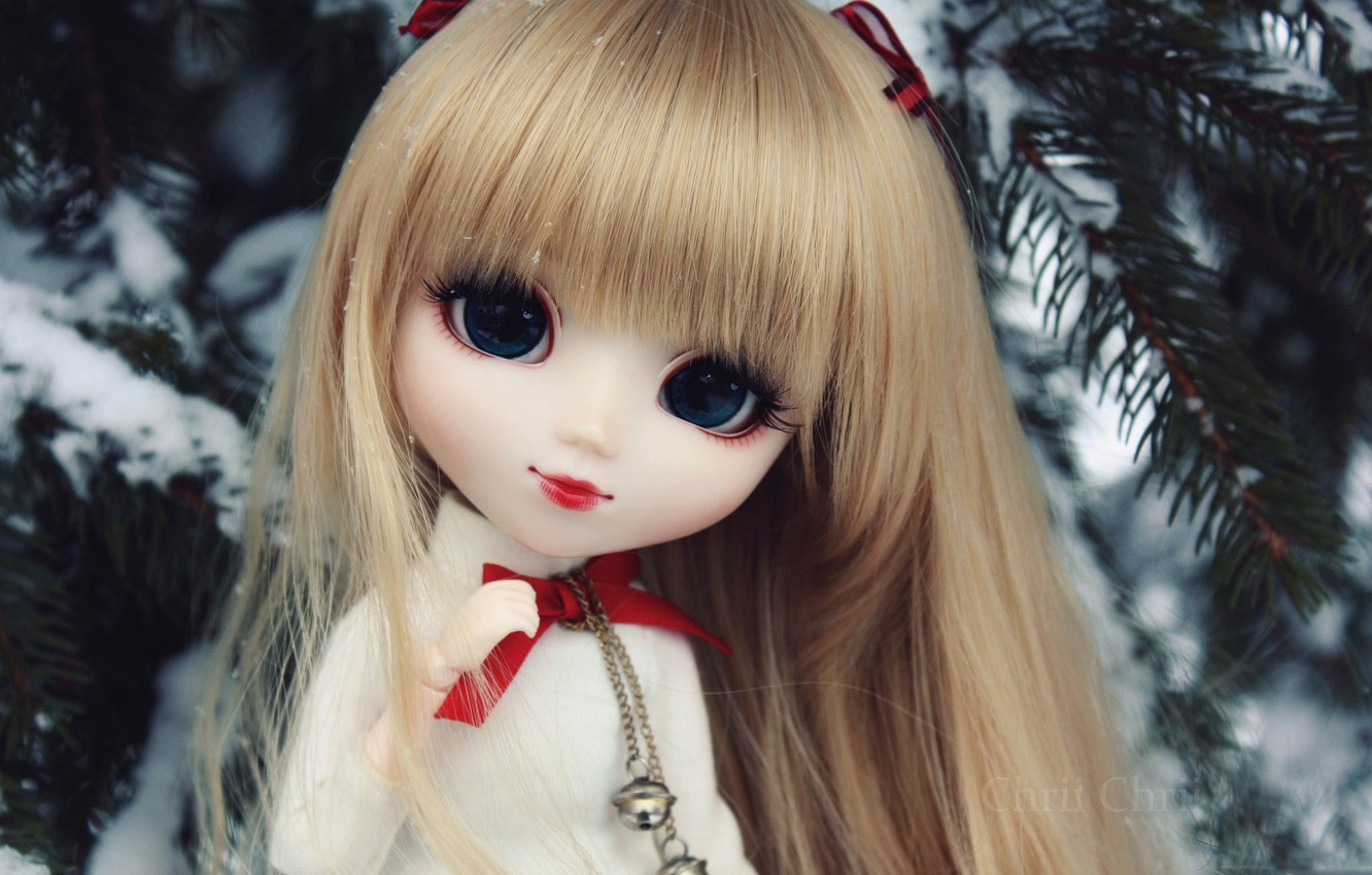 Photo wallpaper winter, toy, doll, tree, bangs. Rus