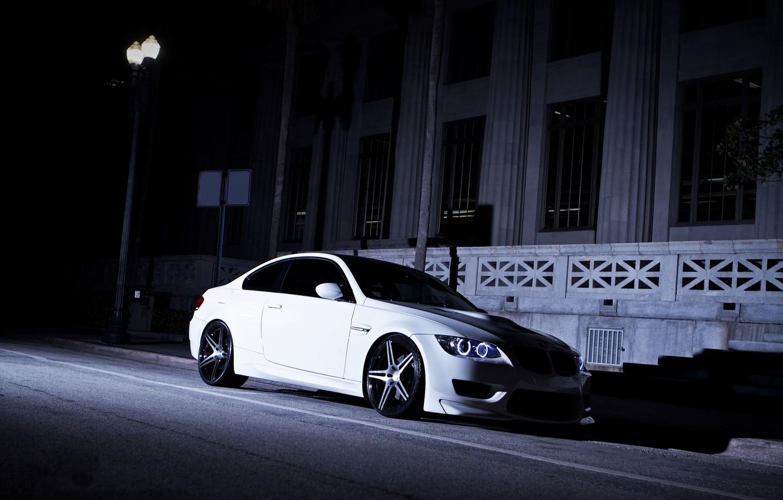 Photo wallpaper white, night, street, BMW, shadow, BMW, lantern, white, e92
