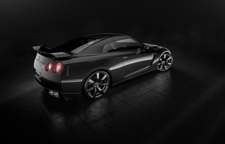 Photo wallpaper Nissan, GT-R, Car, Black, Studio, Back, R35, Sport