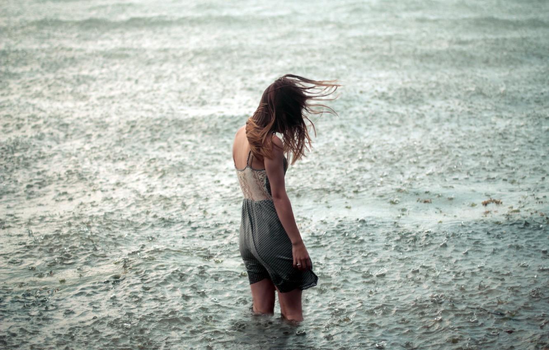 Photo wallpaper water, girl, loneliness, rain, mood