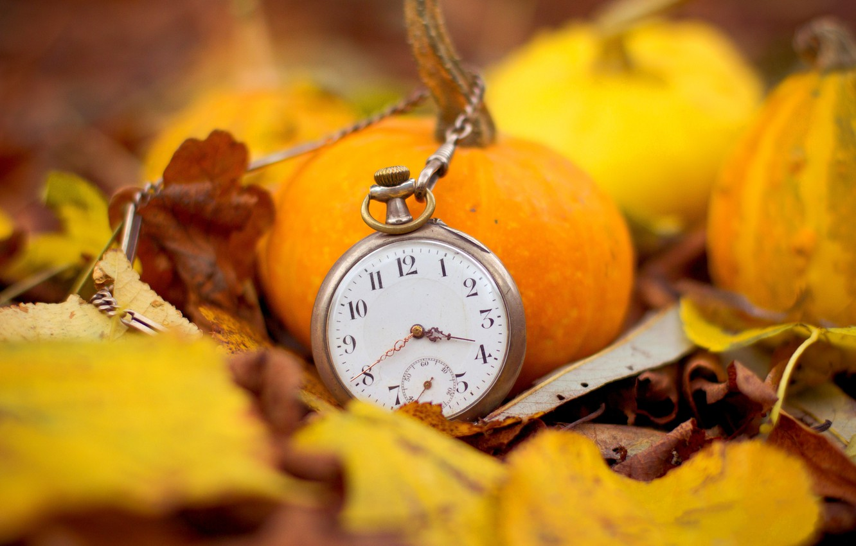 Photo wallpaper autumn, leaves, time, arrows, watch, pumpkin, dial, chain