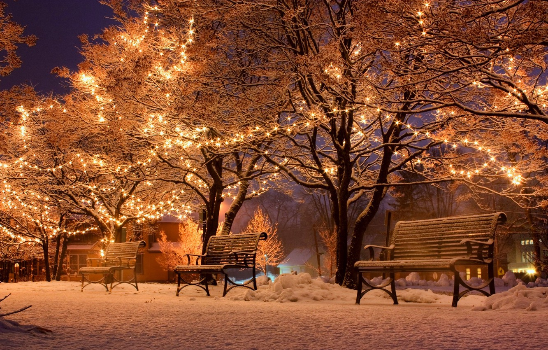 Wallpaper Winter Snow Night City The City Lights Street