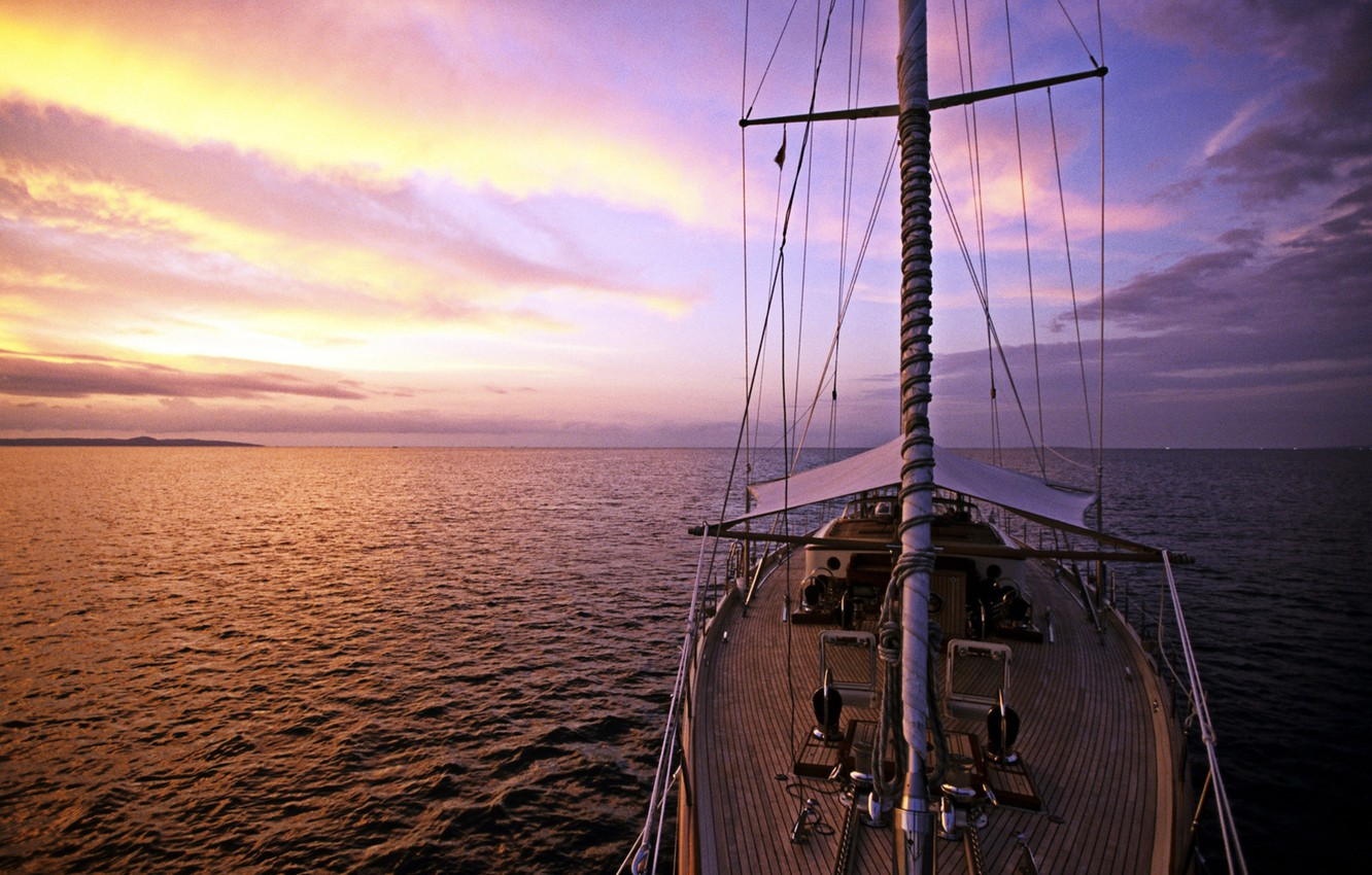 Photo wallpaper sea, the way, the evening, yacht