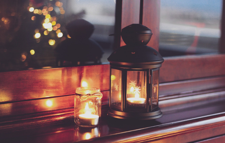 Photo wallpaper lights, Christmas, home, candles, lantern