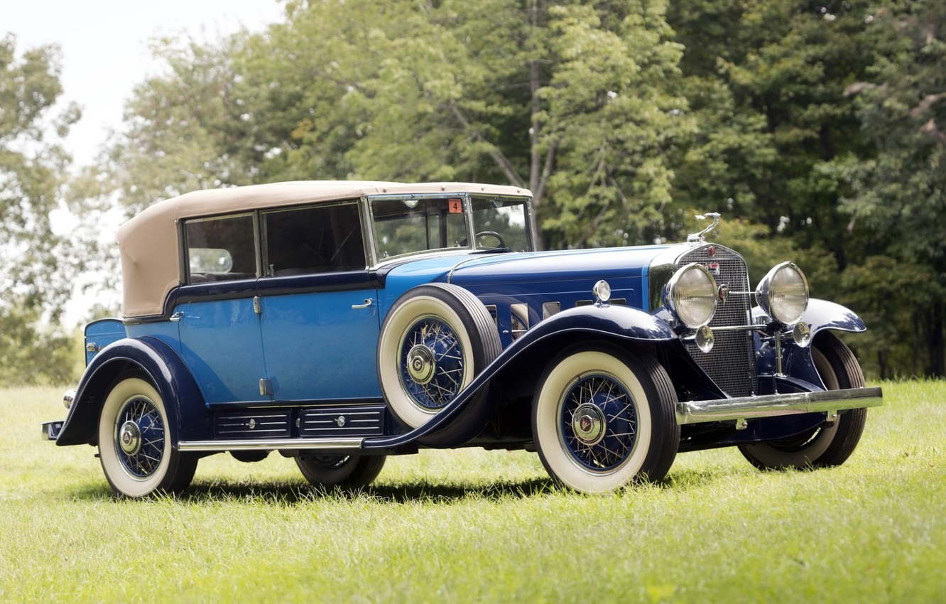 Photo wallpaper retro, background, Cadillac, the front, 1930, Cadillac, V16, Phaeton, by Fleetwood, All-Weather