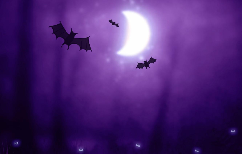 Photo wallpaper purple, the moon, creatures, Halloween, Halloween, bats